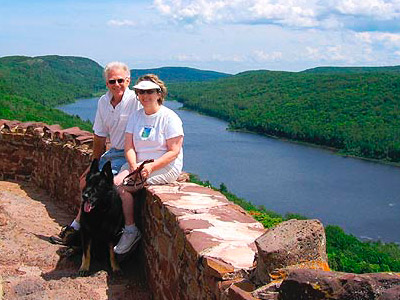 Ross & Jo at Lake of the Clouds in the Porcupine Mountains