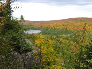 Fall picture of Oberg Lake from the top of Oberg Mountain