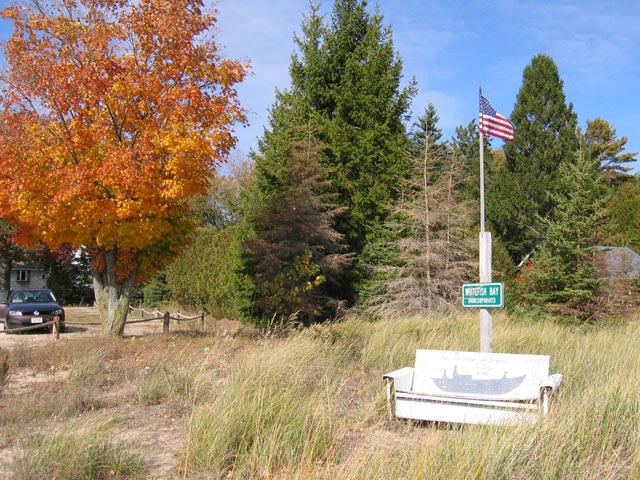 A quaint lakeside park on Lake Michigan