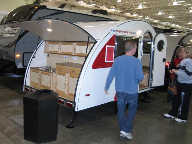 Even some of the smaller Pod or tear-drop units, like this T@b unit,  offered an outdoor kitchen set-up. - Pods, Tear Drop Campers Madison RV Show Scenic Pathways