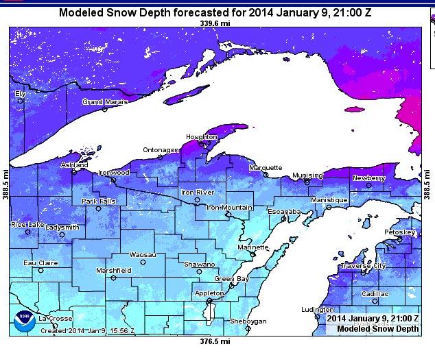 Michigan Upper Peninsula Snowfall Map