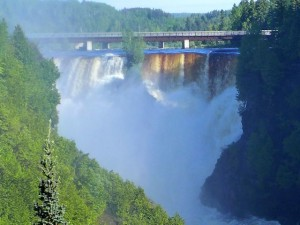 The mist was thick from the roaring Kakabeka Falls near Thunder Bay Ontario