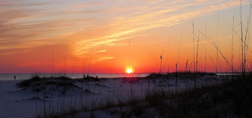 Sunset on the beach at Fort Pickens-Gulf Islands National Park