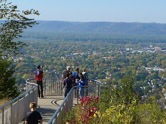 Grand Dads Bluff rises 600 feet over the river valley and offers outstanding views of La Crosse and up and down the river.