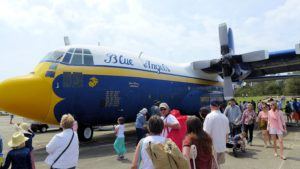 Fat Albert, the C130 Hercules Transport, provides transport of support crew and materials for the Blue Angels shows.
