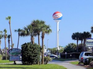 Pensacola Beach famous Beach Ball Water Tower fronts the Casino Beach Pavilion.