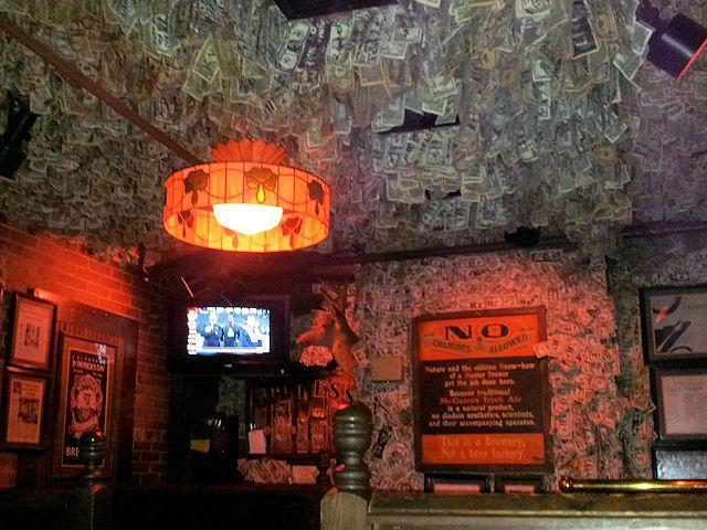 McGuire's Pub Money Ceiling