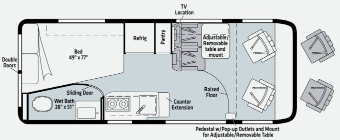 Winnebago Travato 2021 G and GL Floor plans