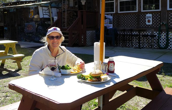 Outdoor dining at the Treasure Camp Restaurant