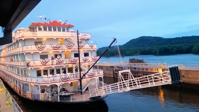 Queen of the Mississippi passing through the locks at Trempealeau